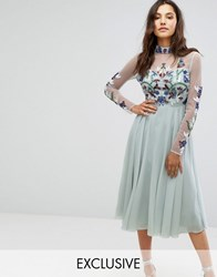 Maya Long Sleeved Midi Dress With High Neck And Placement Embellishment Ice Blue