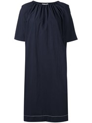 Hache Gathered Neck Dress Blue