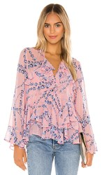 Misa Los Angeles X Revolve Damaris Top In Pink. Intertwined Pink Floral