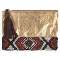 Kin Lab Collective Canyon Road Metallic Beaded Pouch Gold