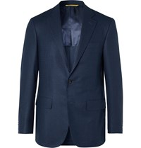 Canali Kei Slim Fit Micro Checked Silk And Wool Blend Blazer Blue