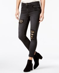 Vanilla Star Juniors' Embroidered Ripped Skinny Jeans Black