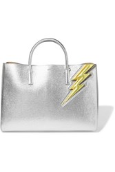 Anya Hindmarch Ebury Large Metallic Textured Leather Tote Silver