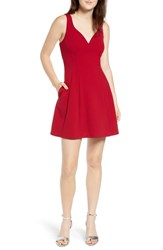 Speechless Scuba Fit And Flare Dress Cranberry