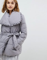 Lost Ink Wrap Front Padded Coat With Shawl Collar Grey