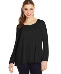 Ing Plus Size Long Sleeve Bow Back Top Black
