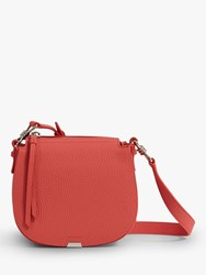 Allsaints Captain Lea Round Leather Cross Body Bag Coral Pink