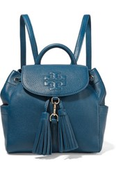 Tory Burch Thea Textured Leather Backpack Navy