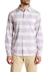 Surfside Supply Long Sleeve Crinkle Plaid Regular Fit Woven Shirt Pink