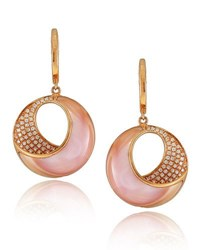 Frederic Sage Small Pink Mother Of Pearl And Diamond Venus Twist Earrings