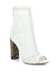 Casadei Crochet And Python Peep Toe Booties White