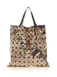 Issey Miyake Platinum Hammered Metallic Faux Leather Tote Gold