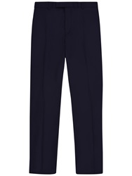 Jaeger Wool Flannel Modern Suit Trousers Navy