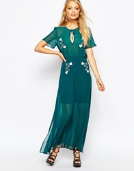 Sister Jane Misty Morning Maxi Dress With Embroidery Teal