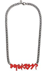 Red Valentino Gunmetal Tone Enamel Necklace Gunmetal