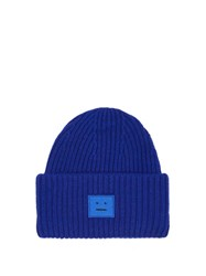Acne Studios Pansy Ribbed Knit Wool Beanie Hat Blue