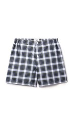 Sleepy Jones Jasper Stewart Plaid Boxer Shorts Navy Green White