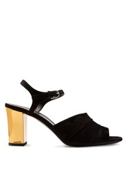 Jil Sander Open Toe Block Heel Suede Sandals Black Gold