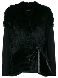 Twin Set Faux Fur Cardigan Women Cotton Polyamide Polyurethane Wool 38 Black