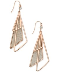 Guess Rose Gold Tone Multi Triangle Faux Leather Drop Earrings
