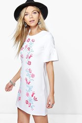 Boohoo Printed Embroidery Bell Sleeve Shift Dress White