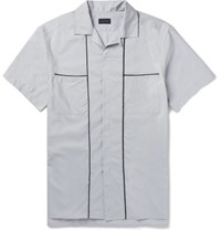 Lanvin Camp Collar Piped Cotton And Silk Blend Shirt Light Gray