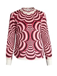 Mary Katrantzou Tiggy Optic Print Cotton Blend Top Pink Multi