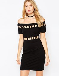 Motel Dame Off The Shoulder Dress With Cut Outs Black