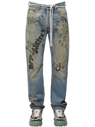 Off White Printed Relaxed Cotton Denim Jeans Blue