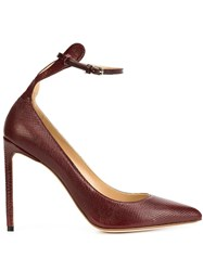 Francesco Russo Ankle Strap Pointy Pumps Red