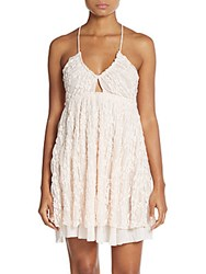 Free People Chloe Lace Overlay Crossback Slip Pale Pink