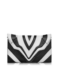 Elena Ghisellini Selina Graphic Lines Small Black And White Leather Clutch