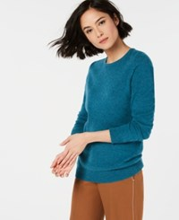 Charter Club Pure Cashmere Solid Crewneck Sweater Blue Opal