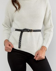 Pieces Avery Leather Plaited Belt Black