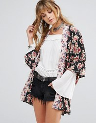 Band Of Gypsies Floral Kimono Black Pink