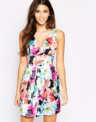Wolf And Whistle Mini Prom Dress In Overscale Floral Print Multi
