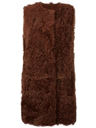 Yves Salomon Long Fuzzy Gilet Brown