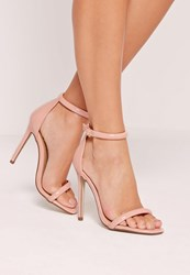 Missguided Rounded Strap Patent Barely There Sandals Pink