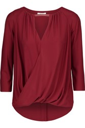 Bailey 44 Lisianthus Leather Trimmed Wrap Effect Matte Jersey Top Burgundy
