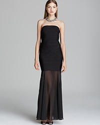 Js Collections Strapless Mesh Skirt Power Knit Gown