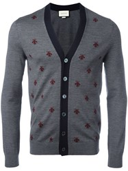 Gucci Bee And Star Embroidered Cardigan Grey