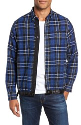 Good Man Brand Slim Fit Tartan Shirt Jacket Navy