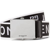 Givenchy 3.5Cm Leather Trimmed Logo Jacquard Webbing Belt Black