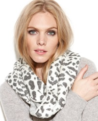 Calvin Klein Leopard Jacquard Shimmer Infinity Scarf Black