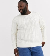 New Look Plus Cable Knit Jumper In Cream