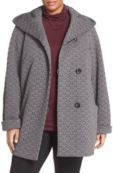 Gallery Plus Size Women's Quilted Hooded Jacket Charcoal