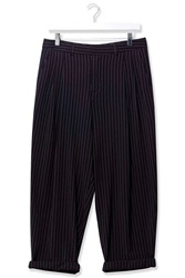 Pinstripe Mensy Wool Trousers By Boutique Navy Blue