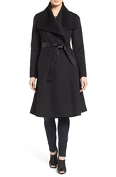 Mackage Women's Drape Front Double Face Fit And Flare Coat Black Black
