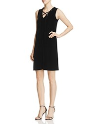 Design History Lace Up Velvet Shift Dress Onyx