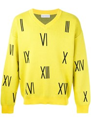 Gosha Rubchinskiy Numbers V Neck Sweater Yellow Orange